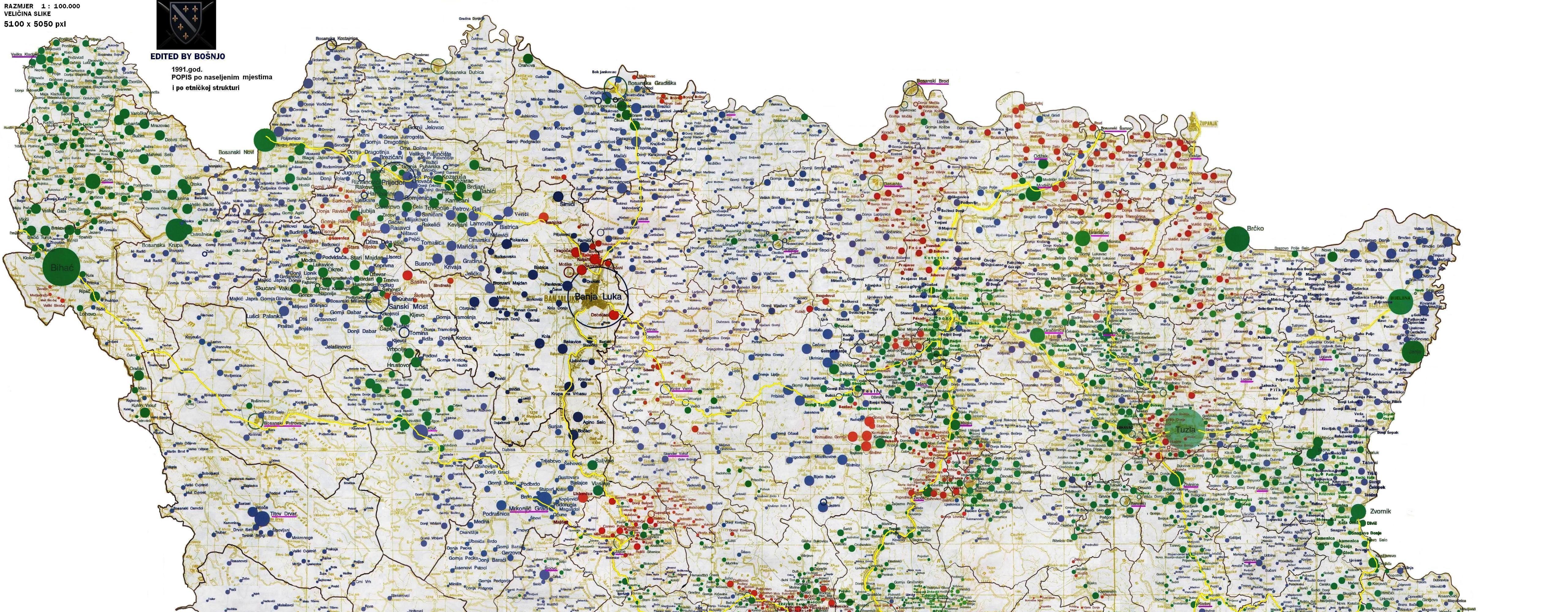 Auto Mapa Bih Etnička Mapa Bih 1991 za