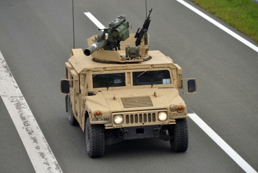 29.10.2015., Gorican - Konvoj od 25 oklopnih vozila HMMWV iz sastava 173. brigade Oruzanih snaga SAD-a usao je u Hrvatsku na granicnom prijelazu Gorican. Konvoj je na proputovanju iz Litve u Italiju. Photo: Marko Jurinec/PIXSELL