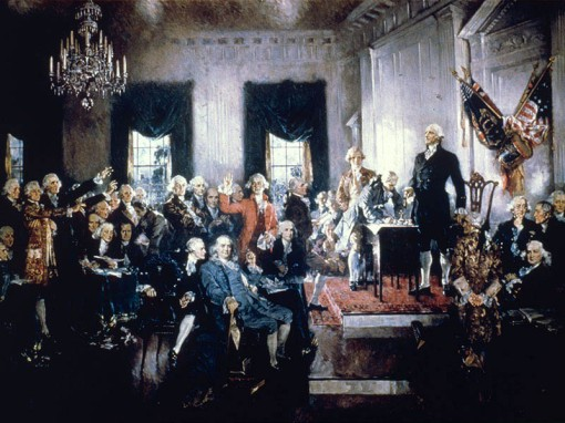 1787:  Signing of the Constitution of the USA.  (Photo by MPI/Getty Images)