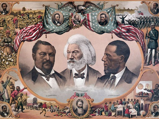 "Illustration entitled ""HEROES OF THE COLORED RACE,"" with vignetted portraits of Fredrick Douglass and former senators Bruce and Revels, surrounded by miniature scenes from African American History, including plantation life, education, the Civil War, and emancipation.  Small portraits of Abraham Lincoln and Ulysses S. Grant appear above.  Undated lithograph."