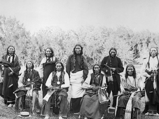 (Original Caption) 1890-Darlington Agency, California: Lesser cheifs of the Cheyennes. Western History Collection, University of Oklahoma Library.