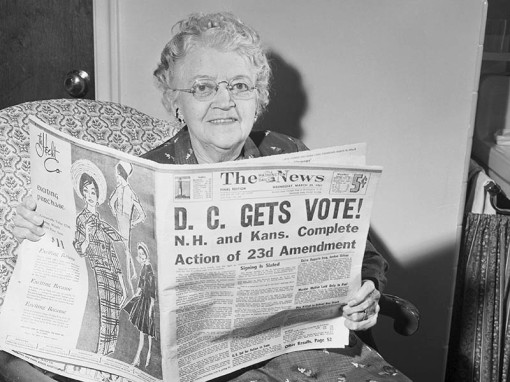 (Original Caption) District of Columbia residents have finally won the right to vote for President and Vice president. The 23rd Amendment to the U.S. Constitution, extending the presidential voting privilege to Washington Residents for the first time in history, was ratified today. First by New Hampshire and then by Kansas. Mrs. Lena F. Fisher, 84, a native of Washington, will finally get to vote in 1964.