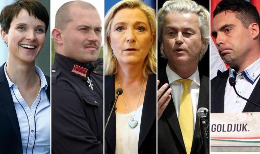 S lijeva na desno: Frauke Petry (AfD), Marian Kotleba (Naša Slovačka), Marine Le Pen (Front Nacional), Geert Wilders (Stranka za slopbodu), Gabor Vona (Jobbik)
