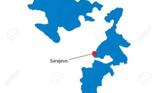 Detailed vector map of Republika Srpska and capital city Sarajevo