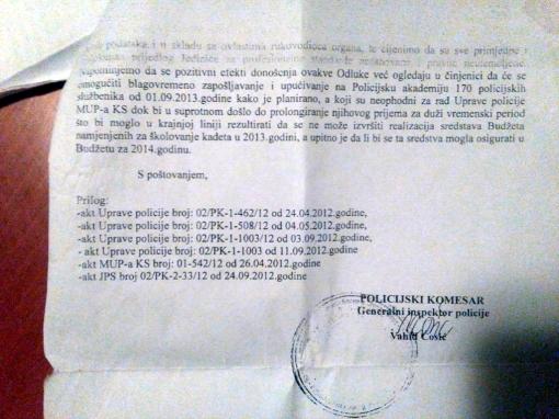 Faksmili Ćosićevog odgovora na upozorenje da kadeti moraju proći sigurnosne provjere, Foto: NAP